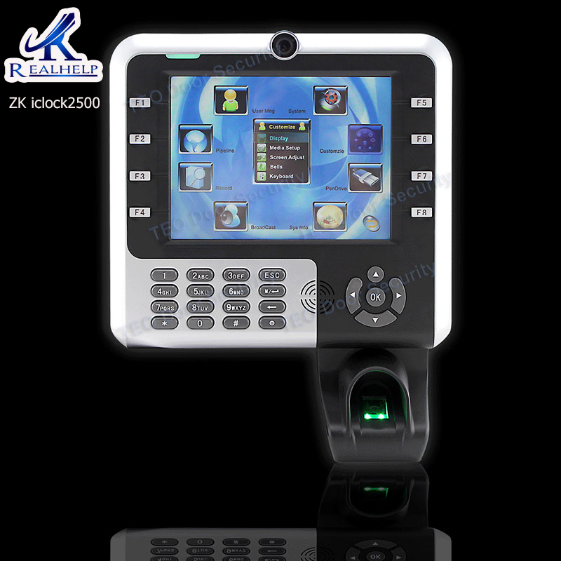 8000Users ZKTeco Iclock2500 Internal Camera Fingerprint Time Attendance 8 Inch Touch Screen ZK Optical Sensor