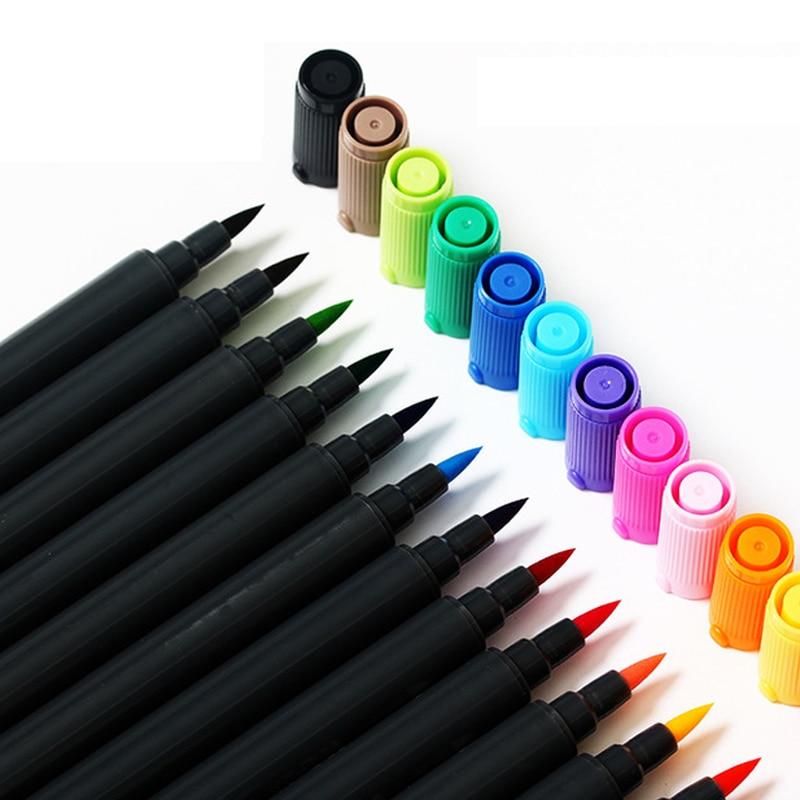 12/18 farben Dual Head Wasser Farben Pinsel Stift Professionelle Skizze Farbe Filzstift Architektur Kunstmarkierungen Manga