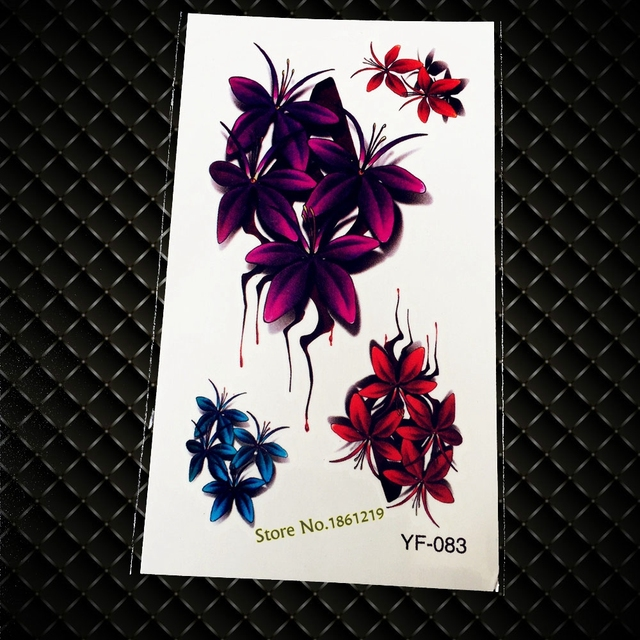 Sexy Women Body Art Flash 3d Tattoos Gyf 083 Purple Red Blue Flowers