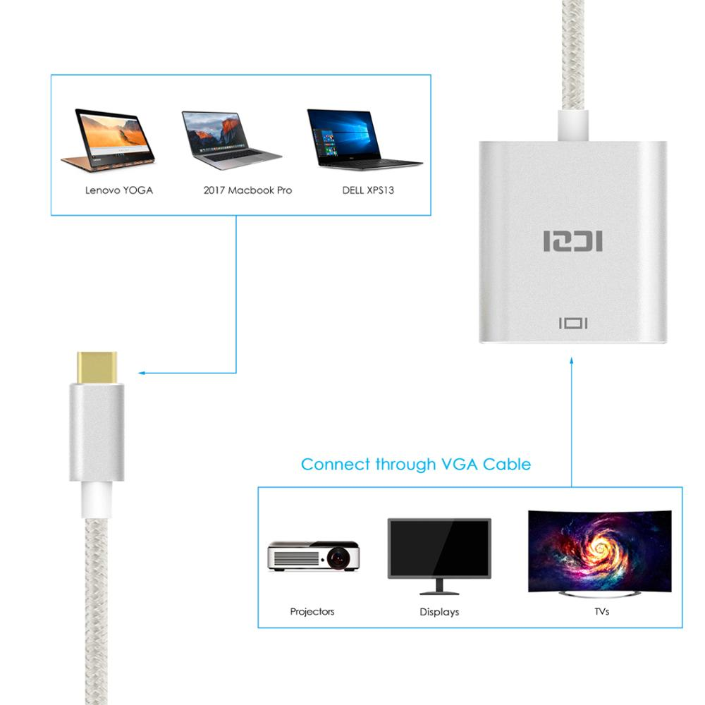 ICZI Type C (USB 3.1 & Thunderbolt 3 Port Compatible) USB C to VGA Adapter 1080P Aluminum Body Cable for Lenovo Yoga MacBook Pro