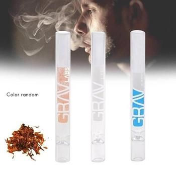 Fajki tytoniowe akcesoria kompaktowy 10cm lejek w kształcie rurki parowej Mini fajka z przezroczystego szkła losowy kolor tanie i dobre opinie Proste typu Tobacco Pipes Accessories Szkło