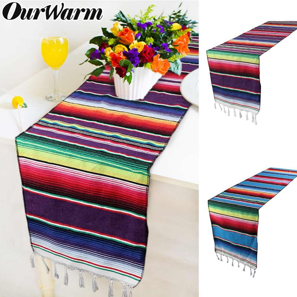 OurWarm Mexican Party Serape Cotton Table Runners for Weddings Birthday Home Decorations 213X35cm Fiesta Themed Party Supplies