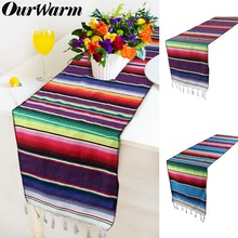 OurWarm Mexican Party Serape Cotton Table Runners for Weddings Birthday Home Decorations 213X35cm Fiesta Themed Supplies