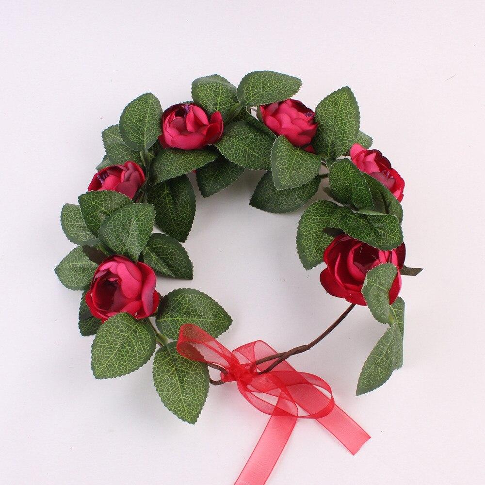 Collectie Hier Bruidsmeisje Boho Bloemen Flower Festival Voorhoofd Hoofdband Haar Garland Kunstbloemen Voor Decoratie Bruiloft Hoge Veerkracht