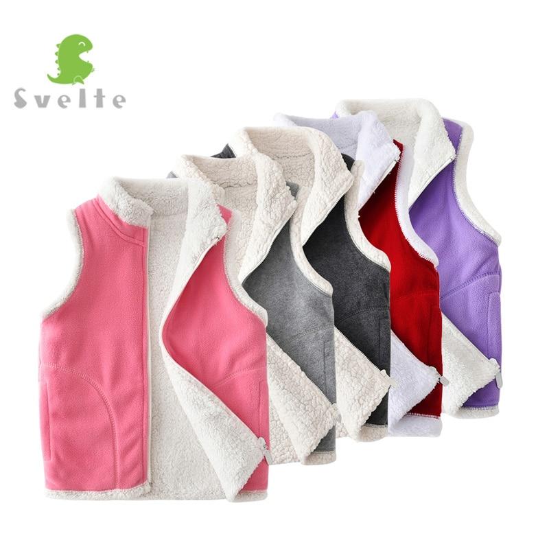 SVELTE for Winter Kids Boys Girls Lining Fur Fleece Vest Candy Color Zipper Solid Unisex Waistcoat Inside Fur Kids Vest Children