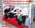 Promoción! 7 unids Mickey Mouse ropa de cama piezas conjunto cuna alrededor del envío ( bumper + hoja + funda de almohada + funda nórdica )