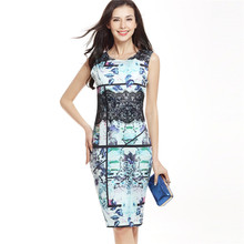 2018 Women Summer Lace Dress Graffiti Slim Bodycon Pencil Eelagnt Club Party  Dress Business Work Office 659467abeb29