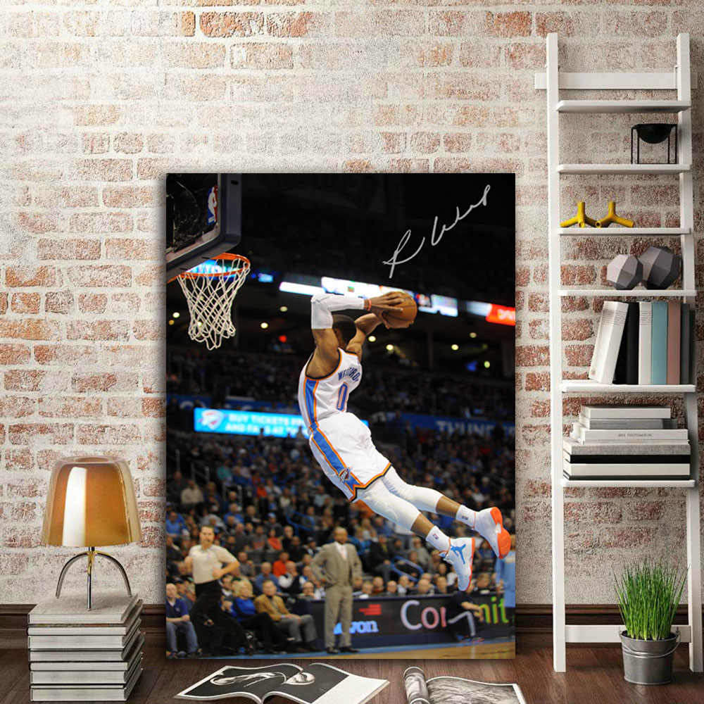 19c4f0203 ... NBA Westbrook slam dunk Oklahoma City Thunder wall picture canvas art  print stretched frame Artwork painting ...