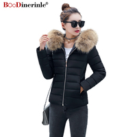 Black Female Jacket Winter High Quality Slim Warm Down Cotton Parkas Coat Removable Fur Collar Hooded Women's Outwear MY213