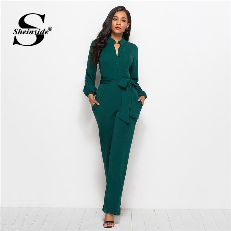 Sheinside Green Tie Waist Shirt Detail Jumpsuit Elegant Straight Leg Jumpsuits For Women 2019 High Waist Long Sleeve Jumpsuit