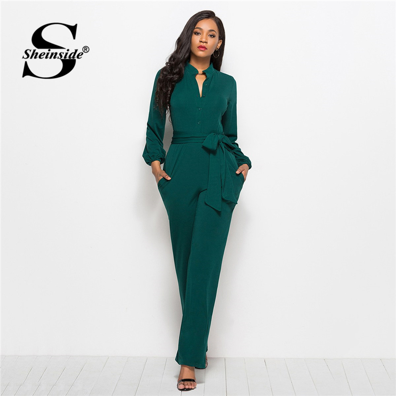 Sheinside Green Tie Waist Shirt Detail   Jumpsuit   Elegant Straight Leg   Jumpsuits   For Women 2019 High Waist Long Sleeve   Jumpsuit