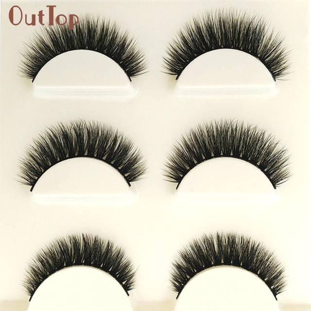8935c3a4350 Hot Best Deal Beauty Girl Makeup 3D Natural Long Fake Eye Lashes Handmade  Thick False Eyelashes Black Nov.4