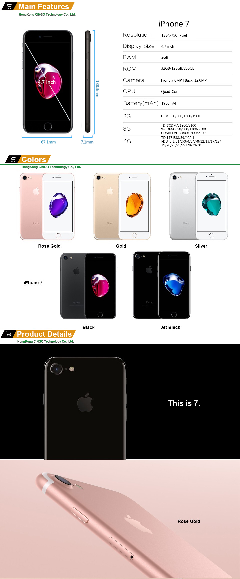 HTB1P5wKN7zoK1RjSZFlq6yi4VXaB Unlocked Apple iPhone 7 4G LTE Cell Phone 32/128GB/256GB IOS 12.0MP Camera Quad-Core Fingerprint 12MP 1960mA