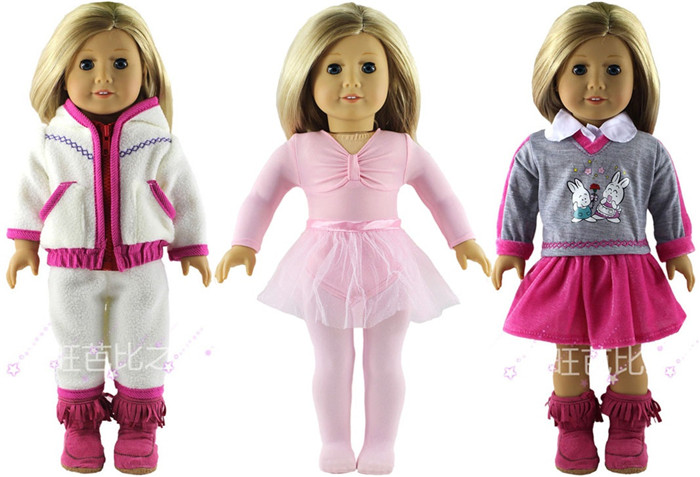 3 Set Doll Clothes for 18 Inch American Girl Handmade Casual Waer Clothes 9 colors american girl doll dress 18 inch doll clothes and accessories dresses
