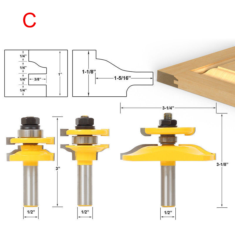 3 Pcs Tenon Cutter Set Alloy Carbide Router Bits Woodworking Tool WWO663 Pcs Tenon Cutter Set Alloy Carbide Router Bits Woodworking Tool WWO66