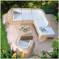 2016 new design garden furniture patio furniture lounge rattan sofa tea table wicker cushioned PE rattan furniture