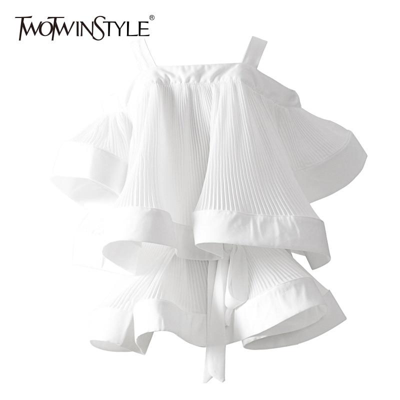 TWOTWINSTYLE Ruffles Shirt Women Off Shoulder Ruched Patchwork Belt High Waist Sexy Blouse Tops 2019 Summer