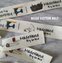 soft raw white; off-white cotton belt Custom only Sewing Labels/handtailor Clothing/Name Tags,Handmade labels/Color label