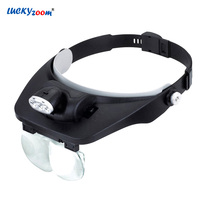Luckyzoom ヘッドバンド拡大鏡 Led ライトイルミネーション拡大鏡ルーペ 1.2X 1.8X 2.5X 3.5X サードハンド拡大鏡ルーペ 虫眼鏡    -