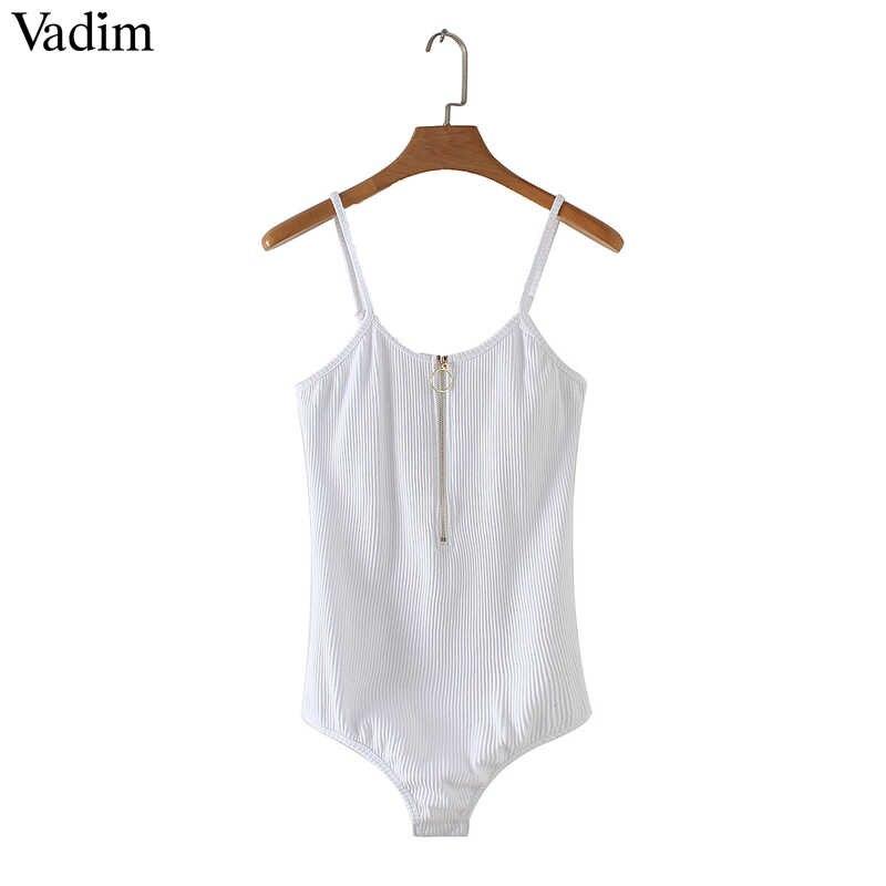 Vadim женское сексуальное боди с молнией спереди растягивающаяся Базовая рубашка без рукавов Женские повседневные Модные топы ZC089