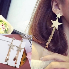 Hot Style High Quality Fashion Long Pendant Personality Temperament Star Tassel Earrings Valentines Day Gift
