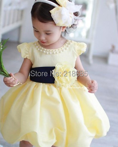 Denzel's store Spring 2015 New to girl's princess dress YELLOW children's summer dress clothing wholesale retail free shipping