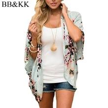 Women Casual Chiffon Half Sleeve Floral Printed Cardigan Loose Kimono Bikini Cover Ups Tops Blouse Shirts