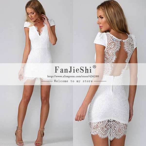 2015 Custom Made Short Party Gown Knee Mini Cap Sleeve V-Neck Appliques Open Back White Straight Lace Cocktail Dresses - Suzhou FanJieShi Wedding Dress Co., Ltd. store