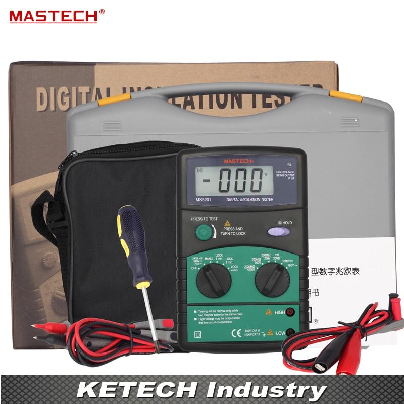 MASTECH MS5201 Digital Megger Insulation Resistance Tester  mastech ms5215 high voltage digital insulation resistance tester megometro megger 5000v 3ma temp 10 70c