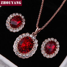 Top Quality ZYS213 Red Crystal Rose Gold Color Jewelry Necklace Earring Set Rhinestone Made with Austrian Crystals