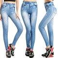 2016 Resorte de Las Mujeres Jeans Leggings Elásticos Flacas Delgadas Slim Fit Arranque Elástica Alta Cintura Washed Denim Pantalones Lápiz Pantalones Largos