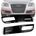 For 2008-2010 Audi A8 D3 Black Front Lower Bumper Driving Grill Pair Grille Cover With Chrome