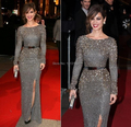 The red carpet wearing long-sleeved mermaid dress sheath sequined belt high side seam XY461 ball gown dress