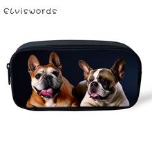ELVISWORDS Kids Pencil Case Cute Bulldogs Pattern Students Stationery Box Fashion School Supplies Cartoon Beautician