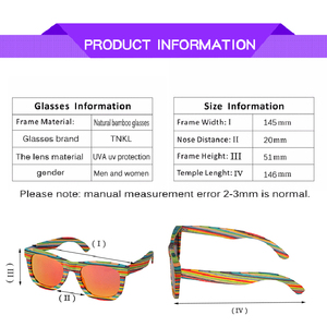 Image 5 - レトロ手作り色木製フレームサングラス偏女性男性多色サングラスビーチ抗uv眼鏡を駆動するための