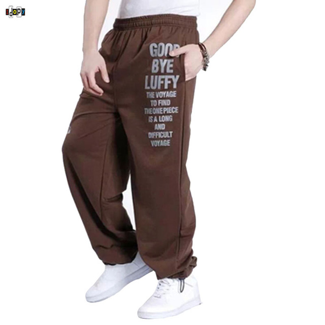 Japanese Anime One Piece Pants Hip Hop Baggy Loose Fit Printed Luffy Plus Size Sweatpants For Men Hipster