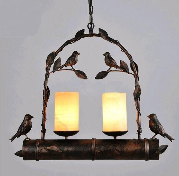 American Iron Pastoral bird creative balcony restaurant pendant lights retro iron personalized decoration coffee shop cafe ZH