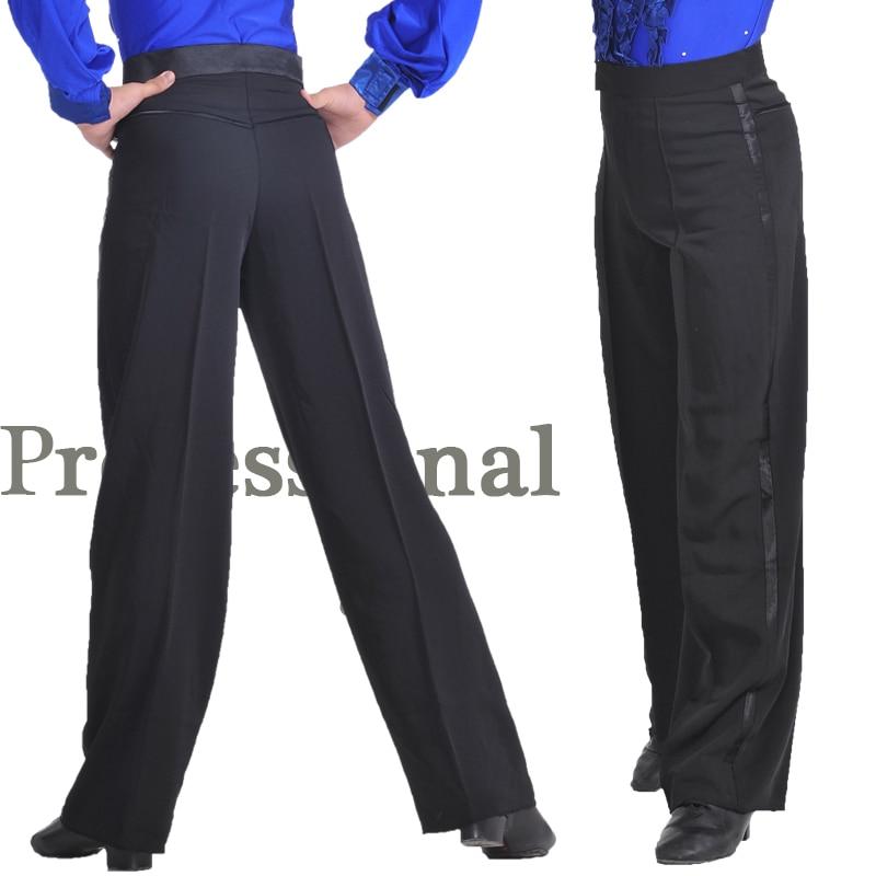 Professional Black Latin Dance Pants Men Modern Salsa Tango Ballroom Dancewear