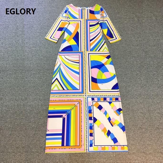 XXL New Long Dress 2017 Summer Women O-Neck Geometric Print Three Quarter Sleeve High Quality Jersey Tunic Dress Extra Large