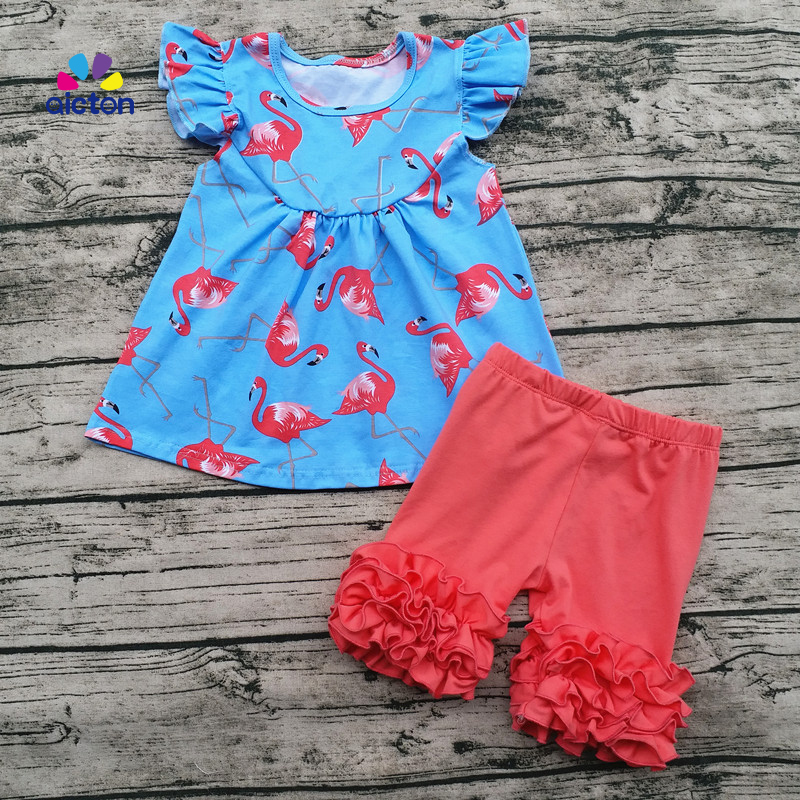 AICTON High Quality Summer Children Boutique Clothing Little Girls Pearl Top And Shorts sets Flamingos Printed Fashion Outfits пуховики boutique children s clothing 1305 2015