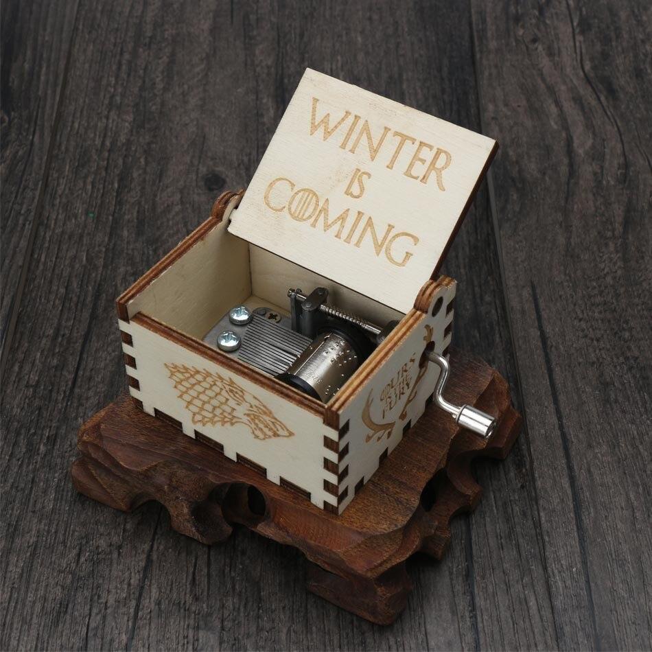 Прямая, деревянная музыкальная шкатулка ручной работы, рисунок Звездные войны, Juego De Tronos, рождественский подарок, подарок на год, подарок на день рождения - Цвет: 13