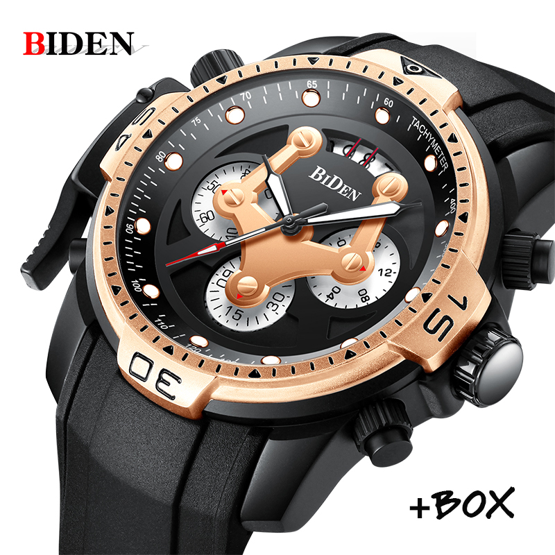 BIDEN Men Watches Top Brand Luxury Sports Military Quartz Watch Waterproof Date Chronograph Wrist watches Man Relogio Masculino цена