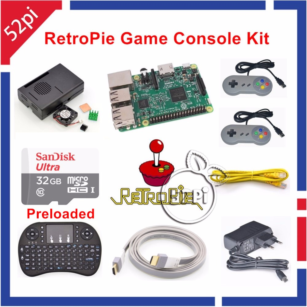32GB RetroPie Game Console Kit with Raspberry Pi 3 Model B SNES Controllers