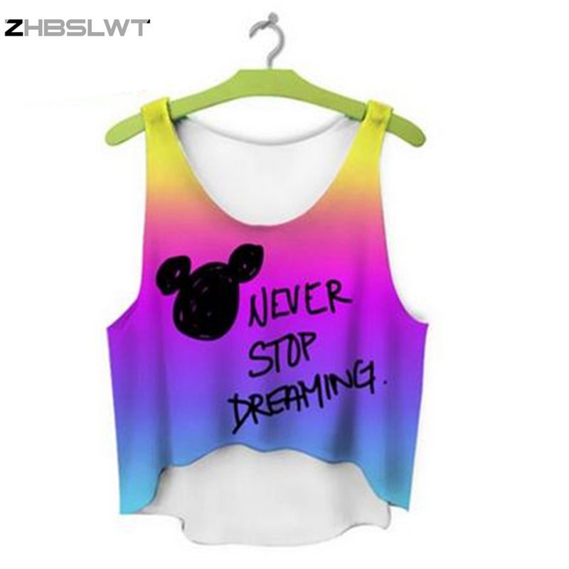 ZHBSLWT multicolor T-Shirts 3D Print women tank tops & camis printed sleeveless vest girls summer short crop tops irregular