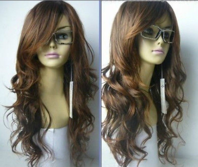 New brown mixed long curly cosplay full wig New brown mixed long curly cosplay full wig