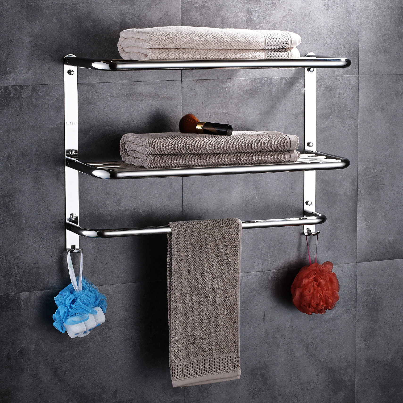 купить 3 layers polish Towel rack stainless steel 304 bathroom shelf bathroom multi-function towel rack for bathroom accessories set по цене 3626.99 рублей