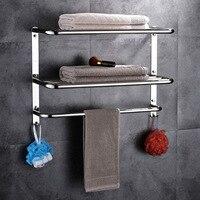 3 layers polish Towel rack stainless steel 304 bathroom shelf bathroom multi function towel rack for bathroom accessories set