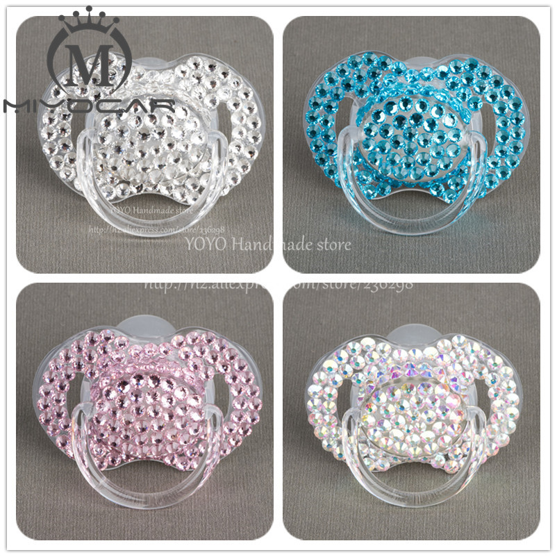 MIYOCAR Special price 4 color shining  bling crystal rhinestone Baby Pacifier/ Nipples /Dummy /cocka /chupeta &pacifier clips|rhinestone eye|rhinestone decor|clip eyeglasses - title=