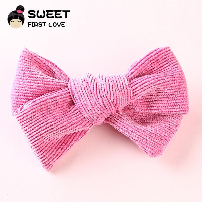 1pcs Corduroy Bow Hair Clips For Girls Lovely Bowknot Hair Accessories Elastic Nylon headands Solid   Headwear   Kids Head clips
