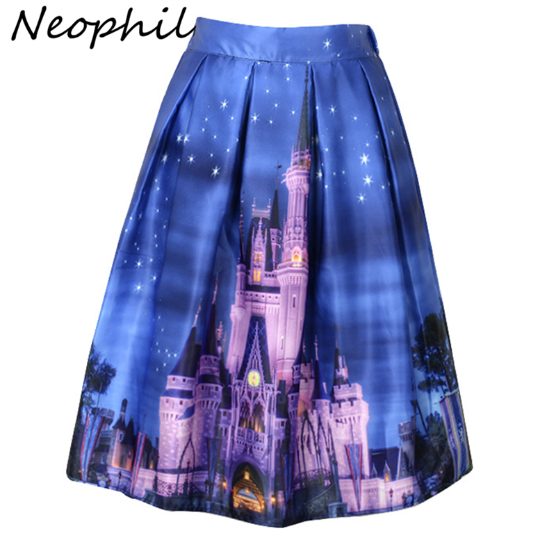 Neophil 2020 Womens Skirts High Waist Skater Flared Saias Building Printed Pleated Blue Vintage Ball Gown Ladies Faldas S1607028